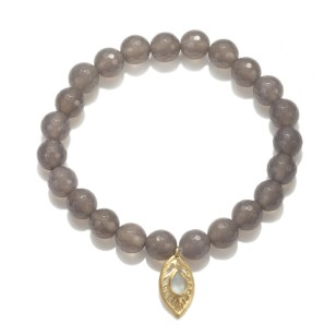 grey agate bracelet with charm