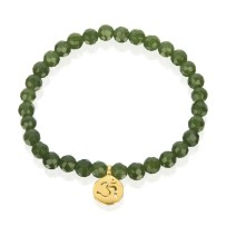 jade beaded bracelet with om charm
