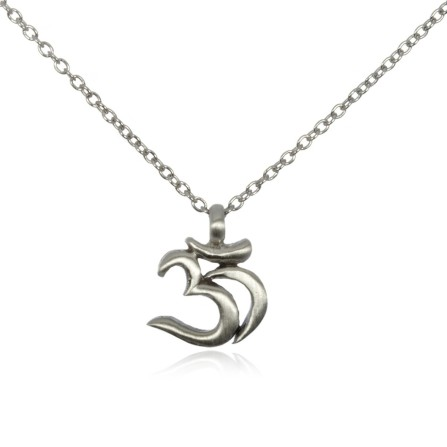 silver om pendant necklace