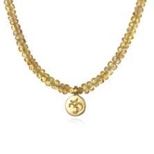 beaded yellow sapphire necklace with om charm