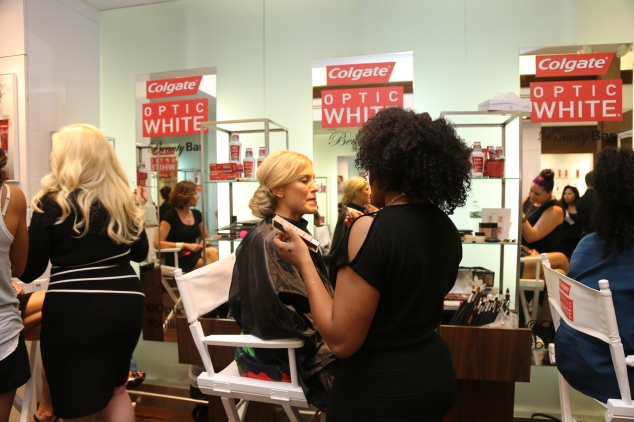 Guests getting pampered. (Photo by Johnny Nunez/WireImage for Colgate Optic)