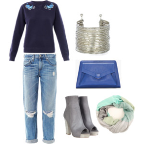 casual jeans and cuff bracelet